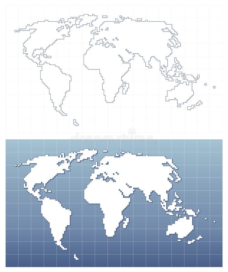 Mapa de mundo de Pixelated no formato do vetor ilustração stock