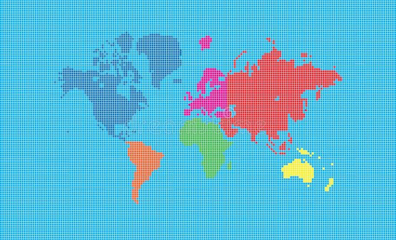 Mapa de mundo de quadrados do pixel ilustração stock
