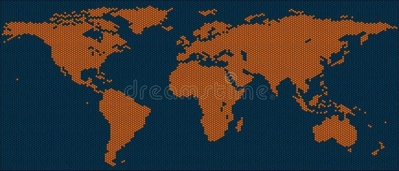 Mapa de mundo de telhas do hexágono ilustração stock