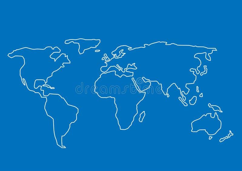 Mapa de mundo desenhado mão ilustração do vetor