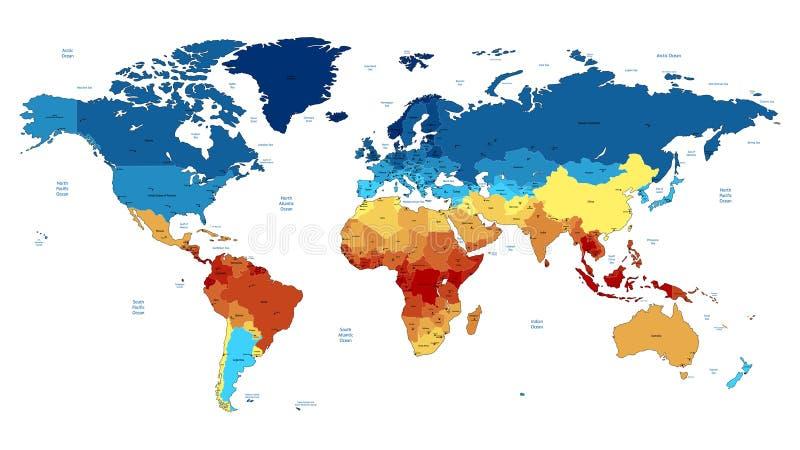 Mapa de mundo detalhado azul e vermelho ilustração do vetor