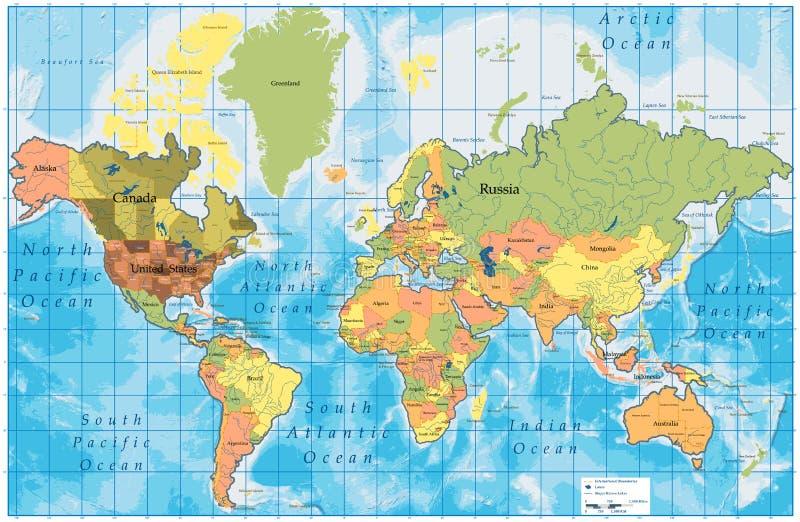 Mapa de mundo detalhado com todos os nomes dos países ilustração royalty free