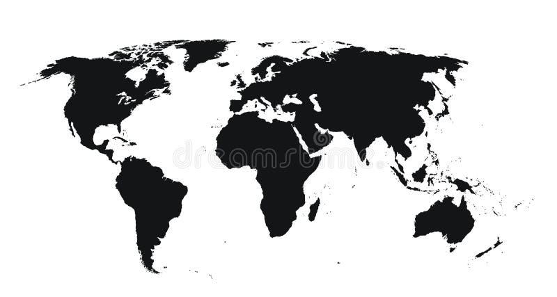 Mapa de mundo detalhado elevado ilustração stock