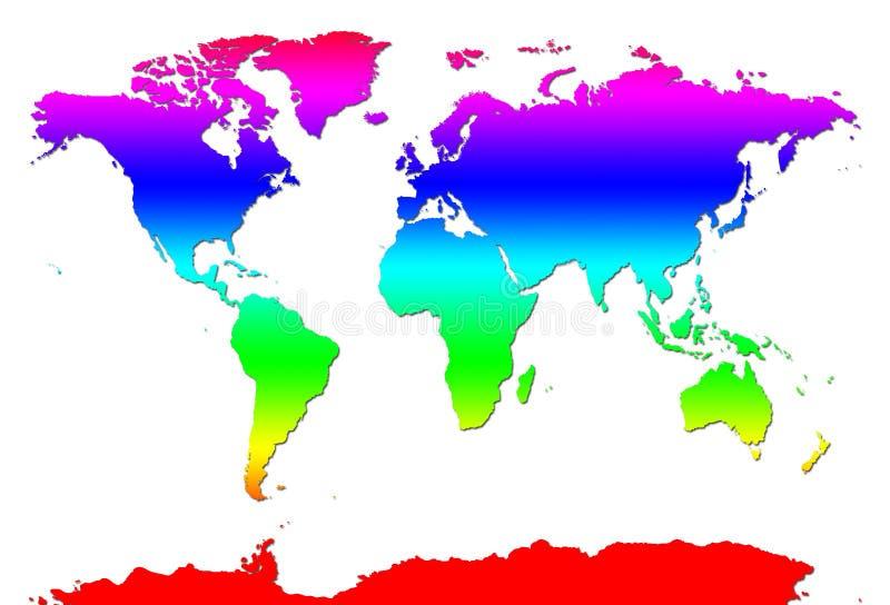 Mapa de mundo do arco-íris ilustração do vetor