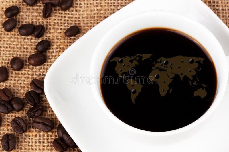 Mapa de mundo do café fotos de stock royalty free