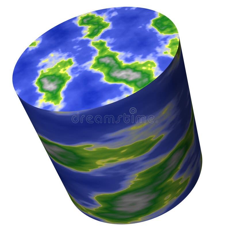 Mapa de mundo do cilindro ilustração do vetor