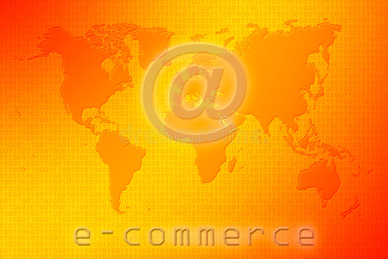 Mapa de mundo do comércio electrónico ilustração stock