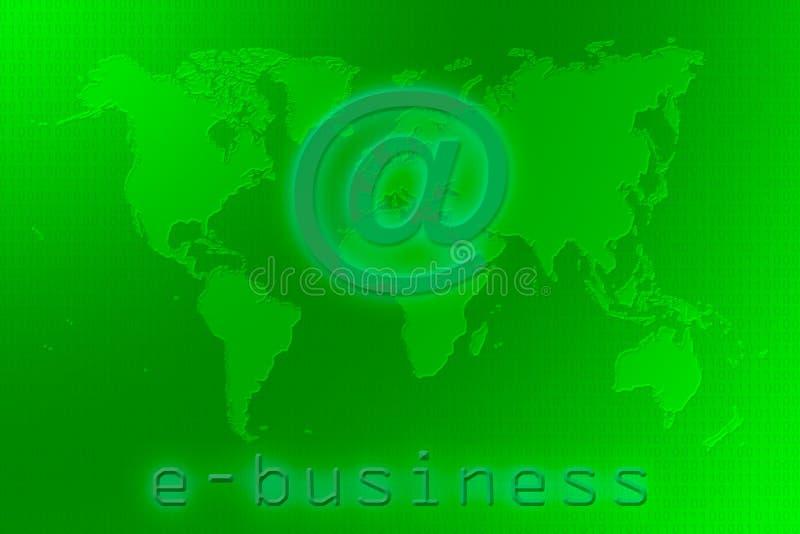 Mapa de mundo do comércio electrónico em um fundo do verde do código binário ilustração royalty free