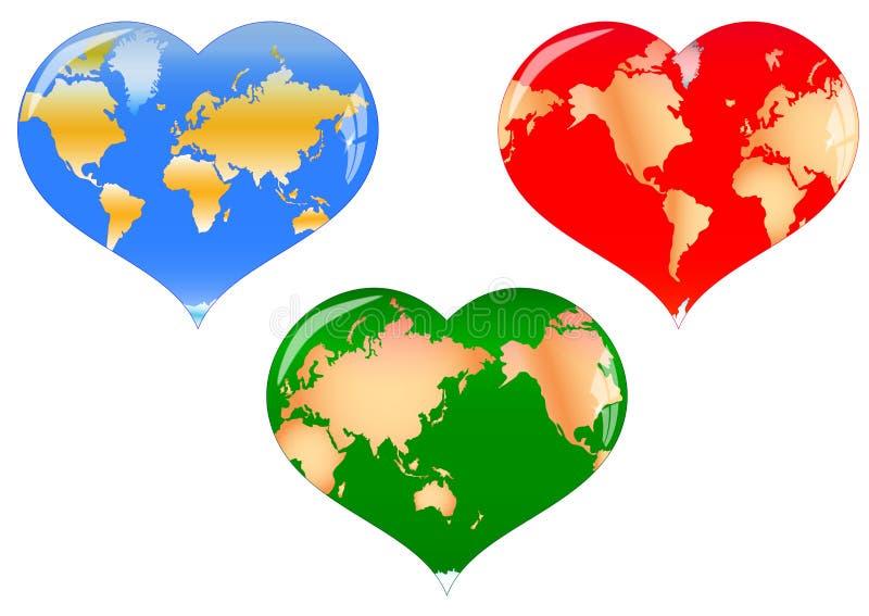 Mapa de mundo do coração ilustração royalty free