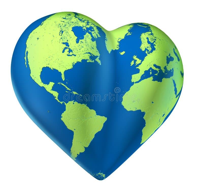 Mapa de mundo do coração do planeta do Valentim do amor ilustração do vetor