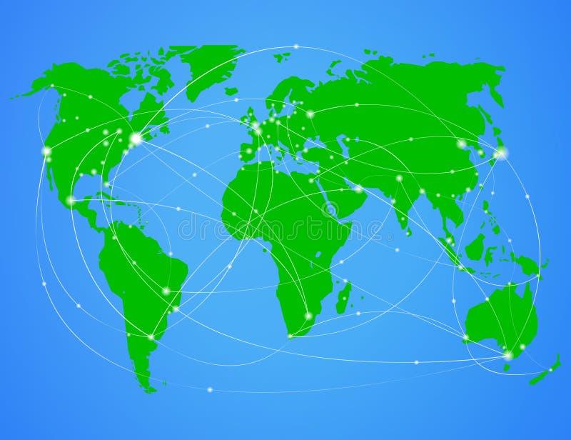 Mapa de mundo do curso da ilustração ilustração do vetor