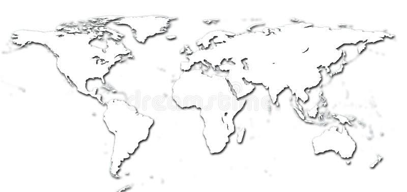 Mapa de mundo do detalhe ilustração stock