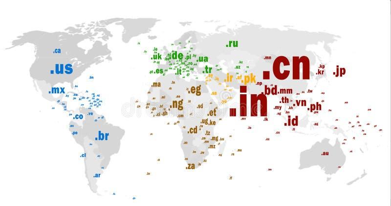 Mapa de mundo do domínio top-level de código de país ilustração stock