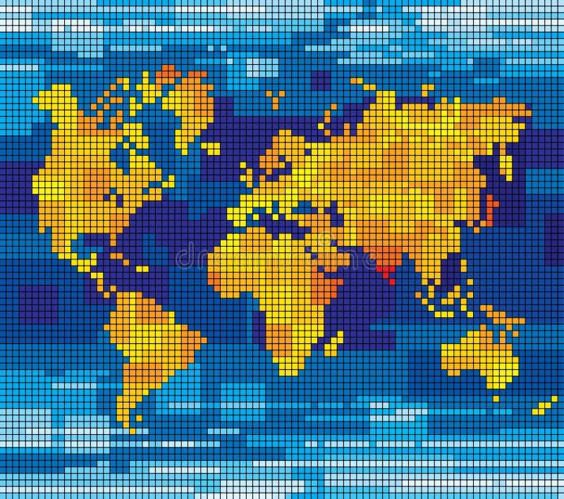 Mapa de mundo do pixel ilustração stock