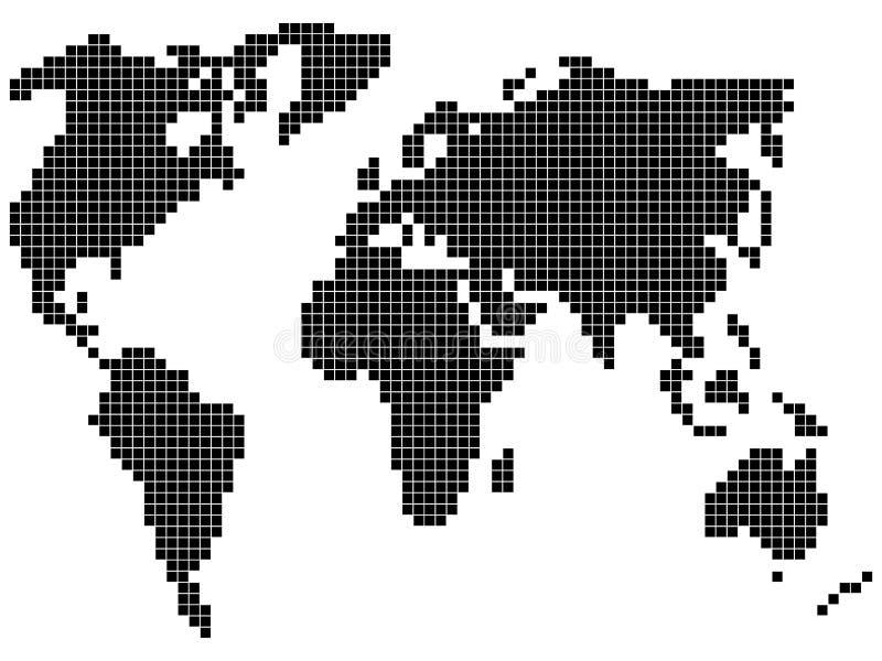 Mapa de mundo do pixel ilustração do vetor