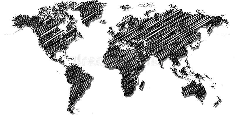 Mapa de mundo do Scribble. ilustração stock