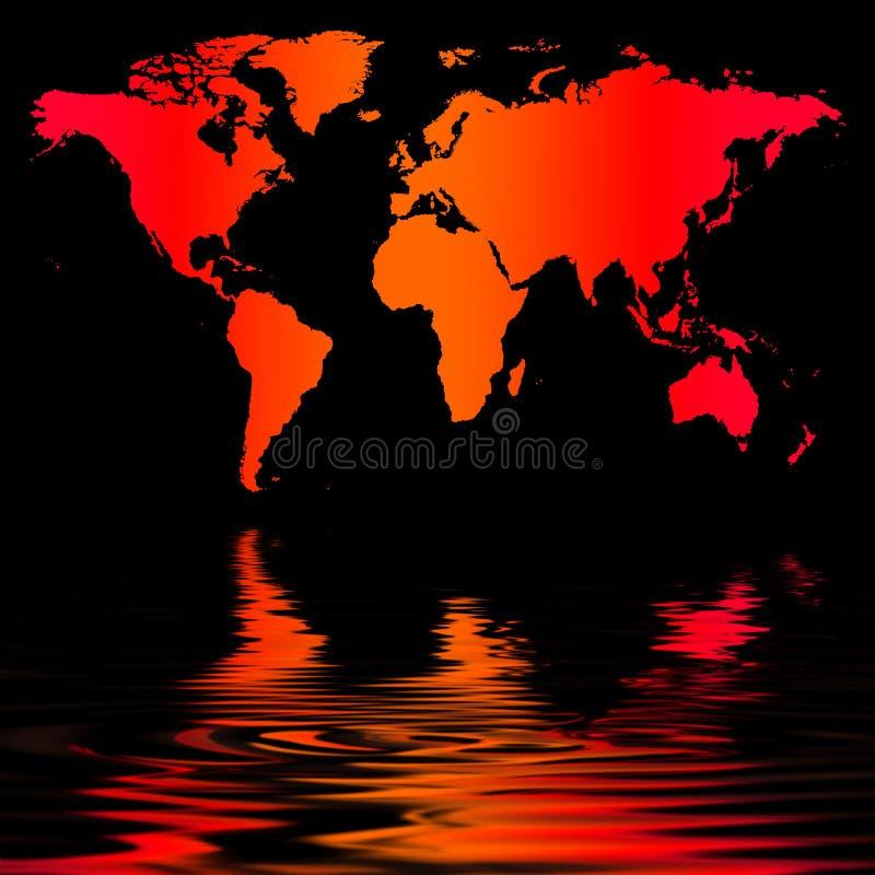 Mapa de mundo do vermelho alaranjado ilustração stock