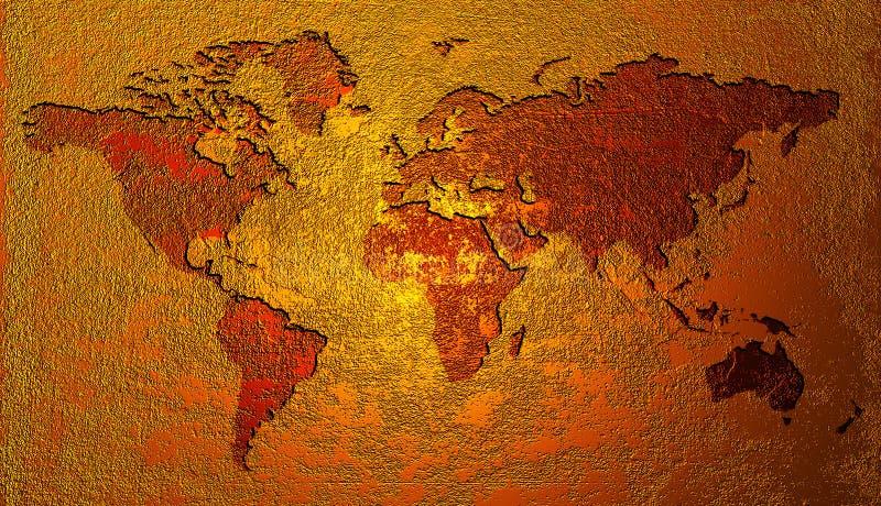 Mapa de mundo dourado ilustração do vetor