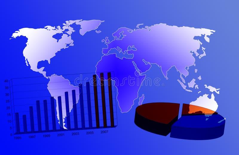 Mapa de mundo e carta de negócio ilustração stock
