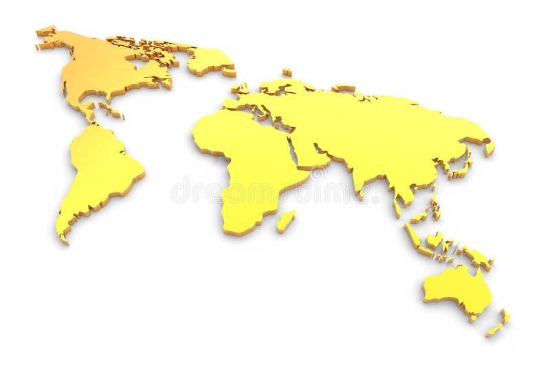 Mapa de mundo expulso dourado ilustração stock