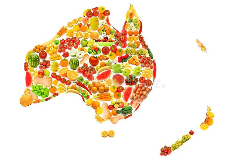 Mapa de mundo feito das frutas e verdura foto de stock