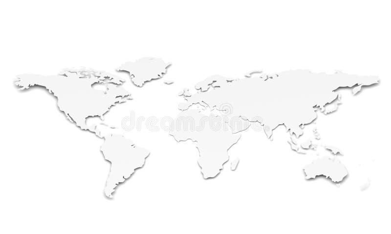 Mapa de mundo. Forma de papel ilustração royalty free