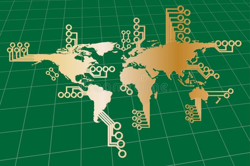 Mapa de mundo global moderno ilustração royalty free
