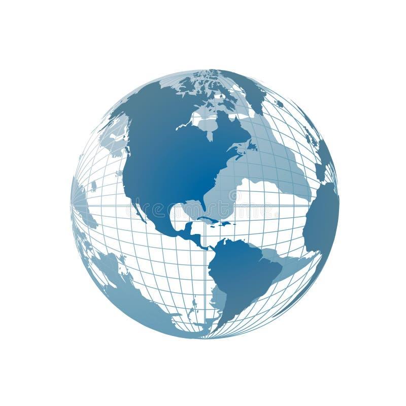 Mapa de mundo, globo 3D ilustração royalty free