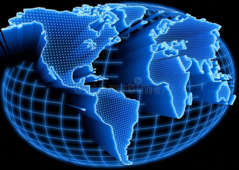 Mapa de mundo iluminado ilustração do vetor