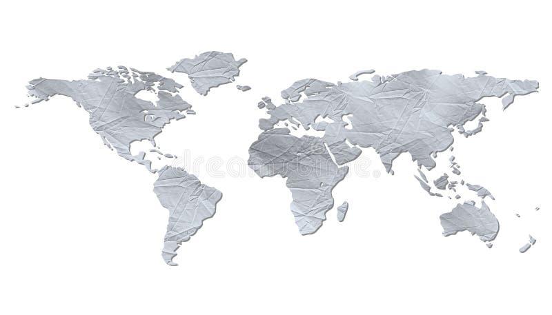 Mapa de mundo isolado - textura de papel enrugada ilustração do vetor
