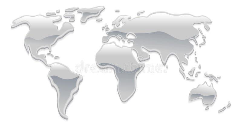 Mapa de mundo líquido do metal ilustração stock