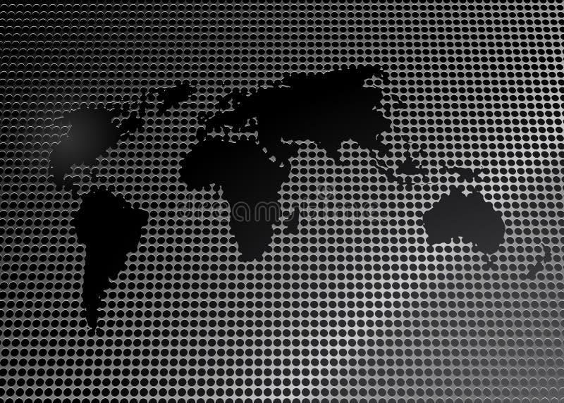Mapa de mundo na grade do metal ilustração do vetor