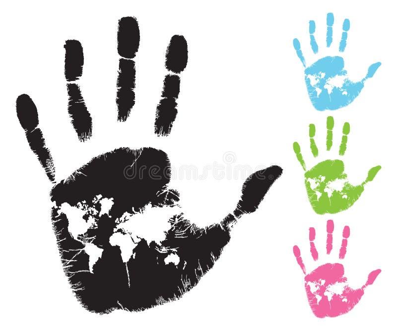 Mapa de mundo na palma