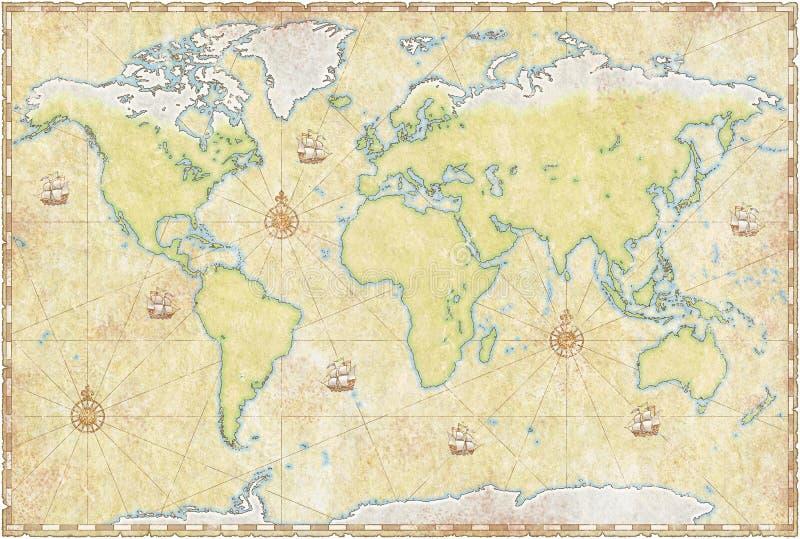 Mapa de mundo no pergaminho