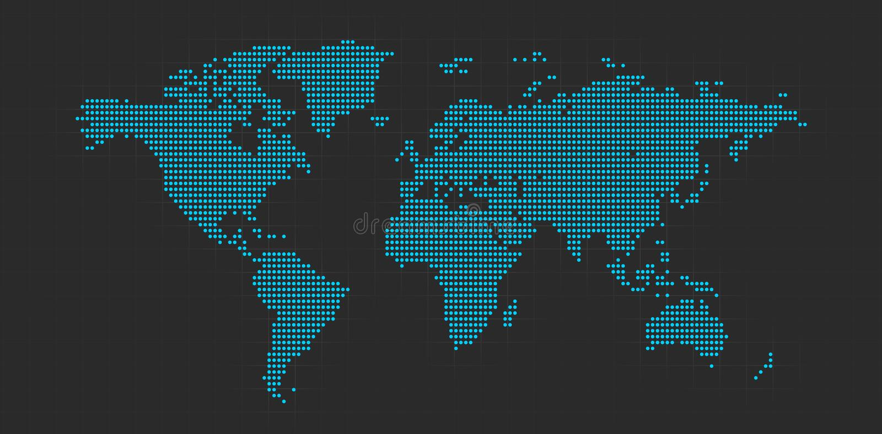 Mapa de mundo pontilhado ilustração stock