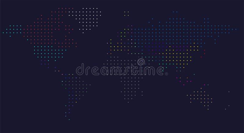 Mapa de mundo pontilhado vetor Um mapa pol?tico do mundo ilustração royalty free