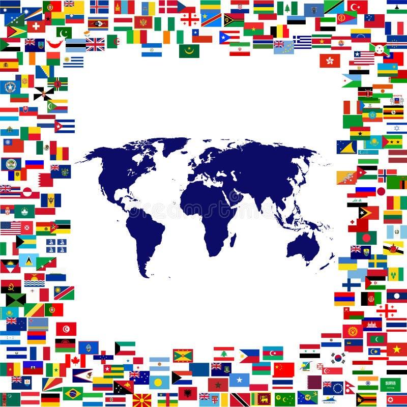 Mapa de mundo quadro por bandeiras do mundo ilustração stock