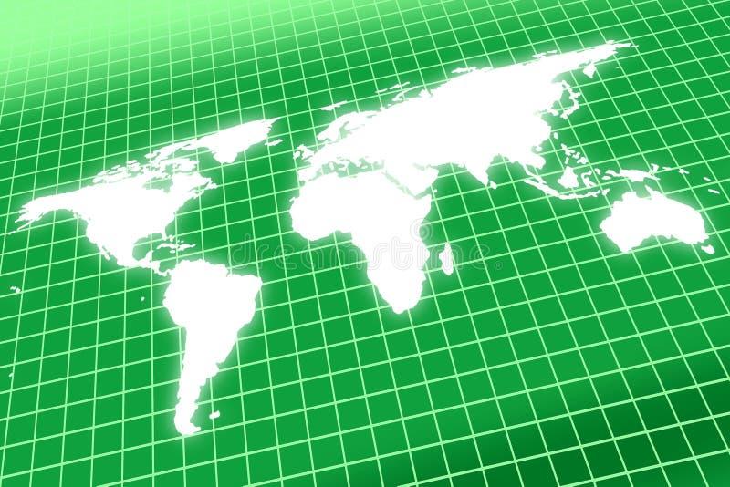 Mapa de mundo que incandesce na grade ilustração royalty free