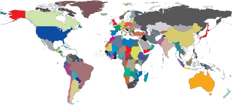 Mapa de mundo regional ilustração royalty free