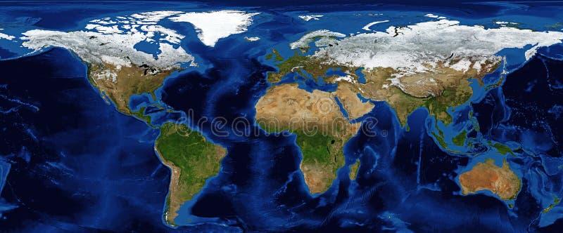Mapa de mundo - relevo protegido com batimetria imagem de stock royalty free