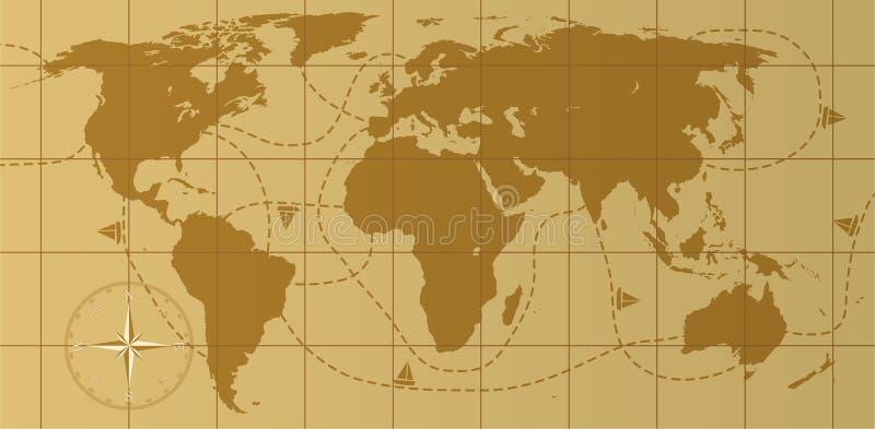 Mapa de mundo retro ilustração stock