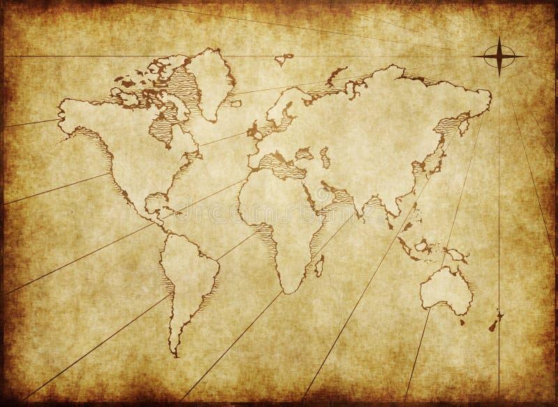Mapa de mundo sujo velho no papel ilustração stock