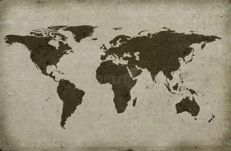 Mapa de mundo textured sujo ilustração stock