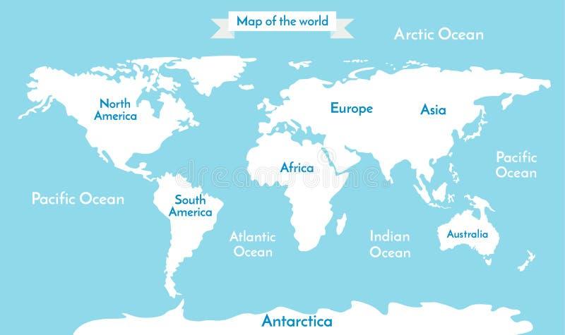 Mapa de mundo Vector a ilustração com a inscrição dos oceanos e dos continentes ilustração stock