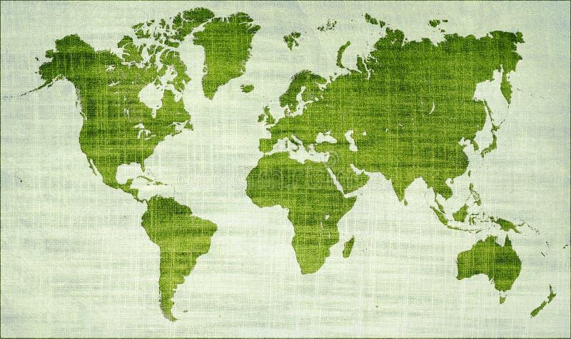 Mapa de mundo verde ilustração do vetor