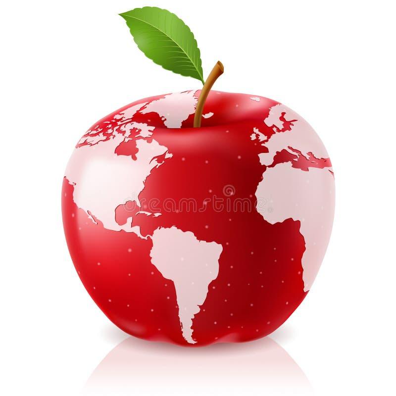 Mapa de mundo vermelho de Apple ilustração royalty free