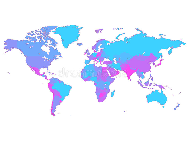 Mapa de mundo violeta com países ilustração stock