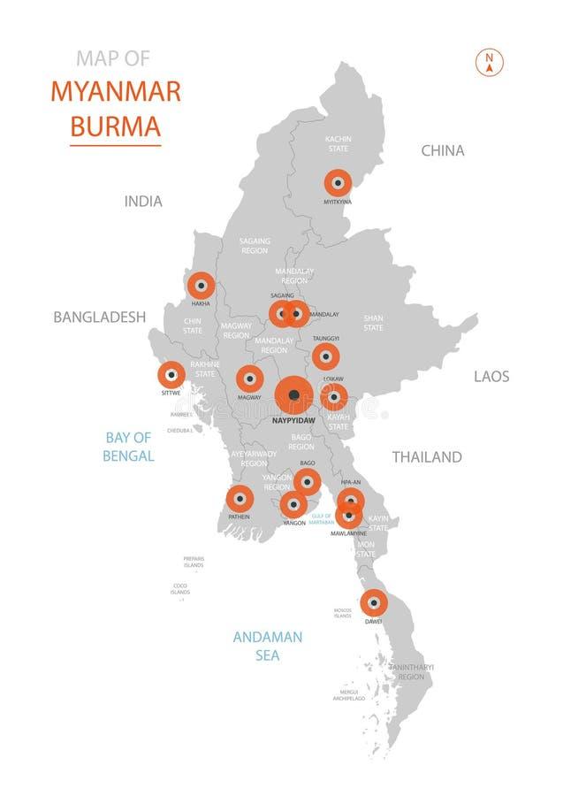 Mapa de Myanmar Birmania con divisiones administrativas stock de ilustración