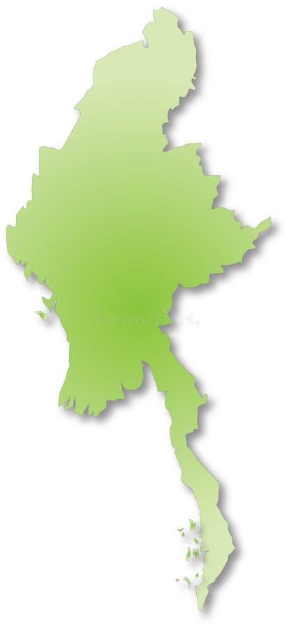 Mapa de Myanmar Burma ilustração do vetor