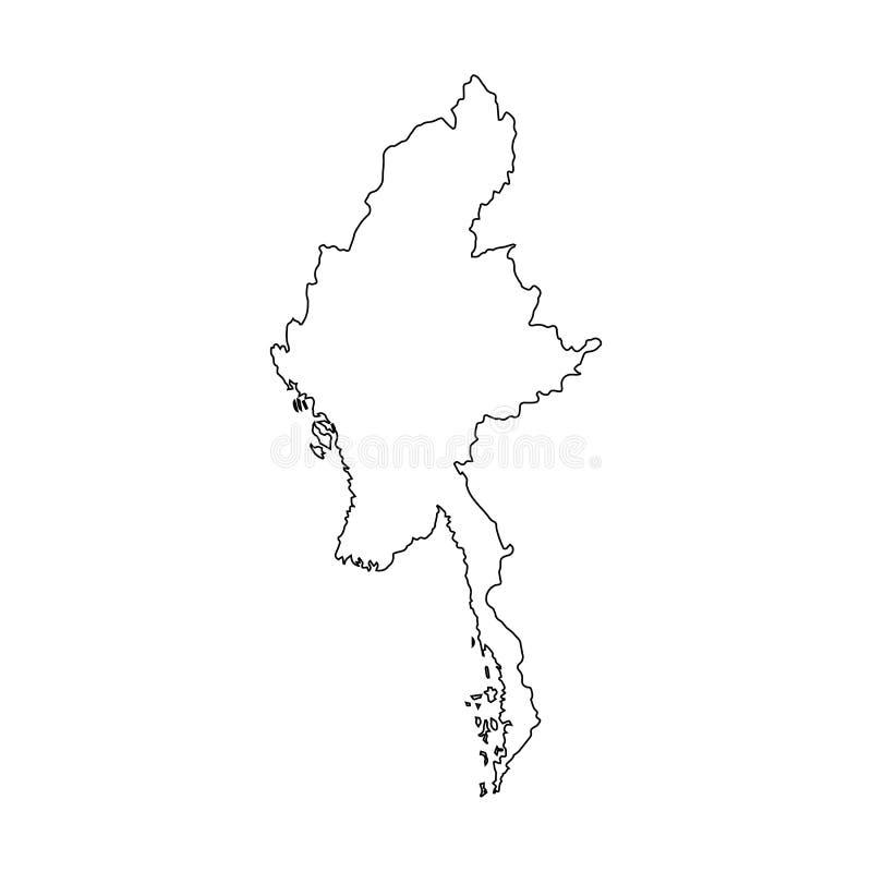 Mapa de Myanmar de curvas pretas do contorno no fundo branco de ilustração royalty free